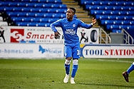 Peterborough United midfielder Siriki Dembele (10) celebrates his goal 2-0 Peterborough  during  the The FA Cup 2nd round match between Peterborough United and Bradford City at London Road, Peterborough, England on 1 December 2018.
