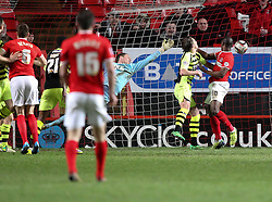 Charlton Athletic's Dorian Dervite heads in his sides second goal 2-1 - Photo mandatory by-line: Robin White/JMP - Tel: Mobile: 07966 386802 08/04/2014 - SPORT - FOOTBALL - The Valley - Charlton - Charlton Athletic v Yeovil Town - Sky Bet Championship
