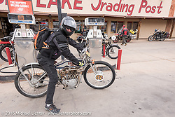 Harley-Davidson Museum Archive Restorer/Conservator Bill Rodencal of Wisconsin on his 1915 Harley-Davidson at the Big Lake Trading Post on the outskirts of Page during the Motorcycle Cannonball Race of the Century. Stage-11 ride from Durango, CO to Page, AZ. USA. Wednesday September 21, 2016. Photography ©2016 Michael Lichter.