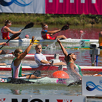 Kovács Katalin (R) and Kozák Danuta (L) from Hungary celebrate their victory in the K2 women Kayak 200m final of the 2011 ICF World Canoe Sprint Championships held in Szeged, Hungary on August 21, 2011. ATTILA VOLGYI