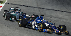 March 1, 2017 - Montmelo, Catalonia, Spain - VALTTERI BOTTAS (FIN) drives in his Mercedes W08 EQ Power+ on track following MARCUS ERICSSON (SWE) => Sauber 9 of team Sauber during day 3 of Formula One testing at Circuit de Catalunya (Credit Image: © Matthias Oesterle via ZUMA Wire)