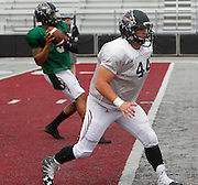 Lindenwood RB Robby Vall, who played at Freeburg High School, runs a drill with the Lynx. At left in background is QB Darrien Boone, stepping back to pass.