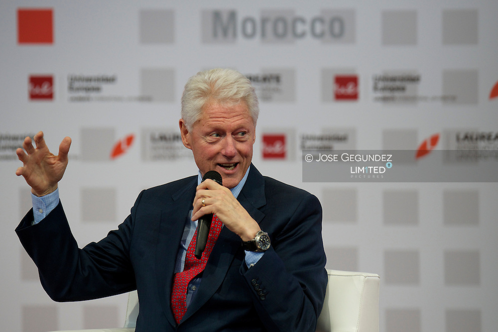Prince Felipe of Spain and US former President Bill Clinton during The Laureate International Universities summit 'The Laureate Summit on Youth and Jobs in Europe' at the European University in Villaviciosa de Odon, near Madrid, on May 21, 2013.