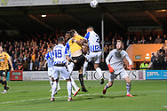 Cambridge United forward Joe Ironside  (9)  and Sheffield Wednesday defender Liam Palmer  (2)  battles for possession  during the EFL Sky Bet League 1 match between Cambridge United and Sheffield Wednesday at the Abbey Stadium, Cambridge, England on 19 October 2021.