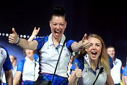 Scotland's Sharon Niven and Jessica Kathryn Liddon (right) during the Opening Ceremony for the 2018 Commonwealth Games at the Carrara Stadium in the Gold Coast, Australia.