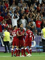 (L-R) Trent Alexander-Arnold of Liverpool FC, Sadio Mane of Liverpool FC, Virgil van Dijk of Liverpool FC, Georginio Wijnaldum of Liverpool FC during the UEFA Champions League final between Real Madrid and Liverpool on May 26, 2018 at NSC Olimpiyskiy Stadium in Kyiv, Ukraine