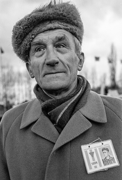 Alojzy Golka (born 12.06.1920) Polish survivor of the Auschwitz (Birkenau) Nazi concentration camp after the ceremony to remember the 50th anniversary of the liberation in 1995. It is estimated that between 1.1 and 1.5 million Jews, Poles, Roma and others were killed here in the Holocaust between 1940-1945.