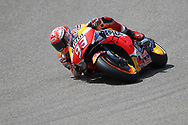 Elbow down for #93 Marc Marquez, Spanish: Repsol Honda Team on his way to pole position during the HJC Helmets Motorrad Grand Prix Deutschland at Hohenstein-Ernstthal, Chemnitz, Saxony, Germany on 6 July 2019.