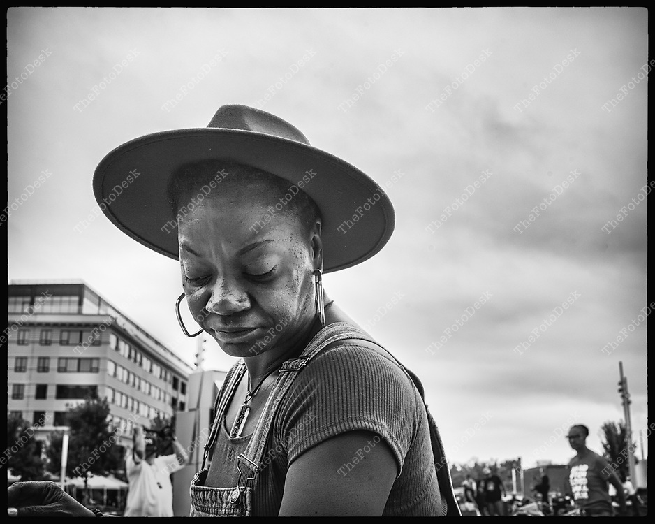 NEWARK, NEW JERSEY: A woman appears during the Bang The Drum House Music festival at Mulberry Commons in in Newark, NJ on Sunday, August 29, 2021. (Brian B Price/TheFotodesk).