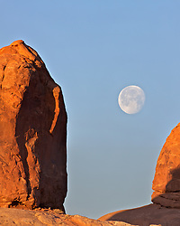 Arches National Park,  full moon  Moab, Utah
