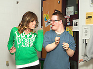 Jeremy Maccarrone and Peer Coach Shelby Theisen dance during a practice prior to their last performance for the season.