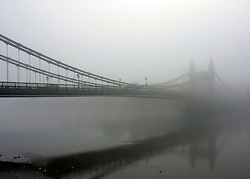 © Licensed to London News Pictures. 20/11/2011, Hammersmith, UK.  Fog at Hammersmith Bridge in West London, today, 20th November 2011. Much of the South East of the country is shrouded in fog. Photo credit : Stephen Simpson/LNP