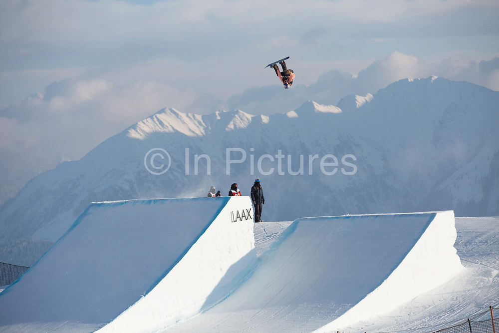 British professional snowboarder, Katie Ormerod during the 2017 Laax Open Slopestyle competition on 17th January 2017 in Laax, Switzerland. The Laax Open is a FIS Snowboarding World Championship competition in Laax ski resort.