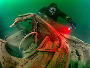 Chest Mount rebreather diver at the Cadillac wreck at Dutch Springs, Bethlehem, Pennsylvania