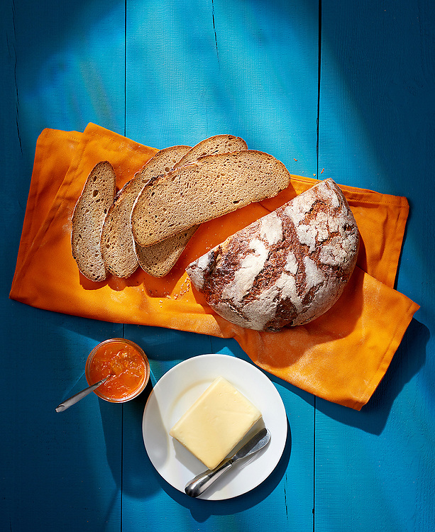 Bread Butter And Apricot Jam. Mediterranean summer colours.