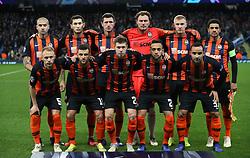 Shakhtar Donetsk team line up prior to kick-off