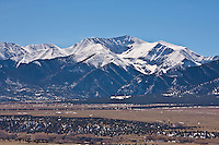 Snow covered peak of 14,269 ft. Mount Antero of the Sawatch Range.  Viewed from the Upper Arkansas Valley.    Colorado.