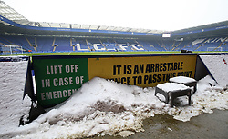 Snow lying pitch side before the game between Leicester City and AFC Bournemouth