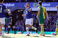 Kevin Mirallas of Everton celebrates after scoring his teams 3rd goal. Barclays Premier League match, Everton v Norwich City at Goodison Park in Liverpool on Sunday 15th May 2016.<br /> pic by Chris Stading, Andrew Orchard sports photography.
