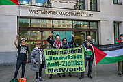 London, United Kingdom, May 27, 2021: Members of the Palestine Action activist group appeared in front of a trial at the Westminster Magistrate Court on Thursday, May 27, 2021. (Photo by Vudi Xhymshiti)