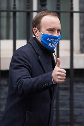 © Licensed to London News Pictures.02/12/2020. London, UK. Secretary of State for Health and Social Care Matt Hancock leaves  Downing Street. Photo credit: Marcin Nowak/LNP