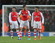 Arsenal's Mathieu Flamini looks on dejected after Anderlecht's second goal<br /> <br /> - Champions League Group D - Arsenal vs Anderlecht- Emirates Stadium - London - England - 4th November 2014  - Picture David Klein/Sportimage