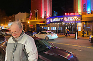 Huntington, New York, U.S. February 29, 2020. BOB STUHMER waits across the street from the Paramount Theater while his friend captures photos, after they left the nearby fotofoto gallery reception.