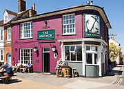 Newly painted The Anchor public house, Woodbridge, Suffolk, England, UK May 2018