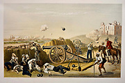 Heavy Day in the Batteries Lithograph from the book Campaign in India 1857-58 Illustrating the military operations before Delhi ; 26 Hand coloured Lithographed plates. by George Francklin Atkinson Published by Day & Son Lithographers to the Queen in 1859