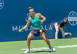 August 5, 2018 - San Jose, CA, U.S. - SAN JOSE, CA - AUGUST 05: Maria Sakkari (GRE) sets to return a serve during the WTA Singles Championship at the Mubadala Silicon Valley Classic  at the San Jose State University Stadium Court in San Jose, CA  on Sunday, August 5, 2018. (Photo by Douglas Stringer/Icon Sportswire) (Credit Image: © Douglas Stringer/Icon SMI via ZUMA Press)