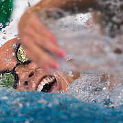 A swimmer competes in a freestyle race on Friday May 6, 2017 at California Community College Swimming Championships - East Los Angeles College, Monterey Park, CA<br /> <br /> Photo by Raul Romero Jr / Sports Shooter Academy