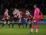 Sheffield United celebrate during the English Football League One match at Bramall Lane, Sheffield. Picture date: December 10th, 2016. Pic Jamie Tyerman/Sportimage