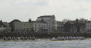 Putney, London   <br /> 2002 Varsity Boat Race. <br /> Photo Peter Spurrier<br /> 2002 Boat Race<br /> 30/03/02<br /> Oxford (L) and Cambridge approach Barnes Bridge.[Mandatory Credit:Peter SPURRIER/Intersport Images]