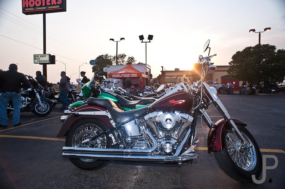 Harley Davidson motorcycle at Hooters Bike Night in south Oklahoma City, OK