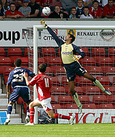 Photo: Dave Linney.<br />Wrexham v Swindon Town. Coca Cola League 2. 09/09/2006.Swindon keeper Peter Brezovan pushes the ball over the bar from a header by  Chris Llewellyn