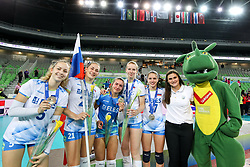 Players of Slovenia celebrate at medal ceremony after the volleyball match between National team of Turkey and Slovenia in Gold Medal game of Womens U23 World Championship 2017, on September 17, 2017 in SRC Stozice, Ljubljana, Slovenia. Photo by Morgan Kristan / Sportida
