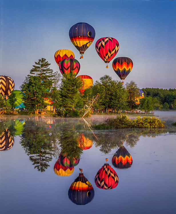 Hot air balloon launch & reflections in Whites Pond, with spectators & early am mist, Pittsfield, NH