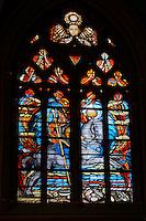 France, Region Centre-Val de Loire, Loiret (45), Orléans, les vitraux de la cathédrale Sainte-Croix, les vitraux de Jeanne d'Arc // France, Loiret, Orleans, Sainte-Croix cathedral, Jeanne d'Arc stained glass window