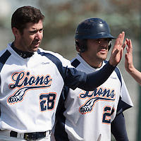 18 April 2010: Pierrick Le Mestre of Savignyis congratulated by Vincent Ferreira during game 1/week 2 of the French Elite season won 8-1 by Savigny (Lions) over Senart (Templiers), at Parc municipal des sports Jean Moulin in Savigny-sur-Orge, France.