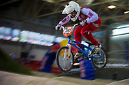 #210 (CHRISTENSEN Simone) DEN at the 2014 UCI BMX Supercross World Cup in Manchester.