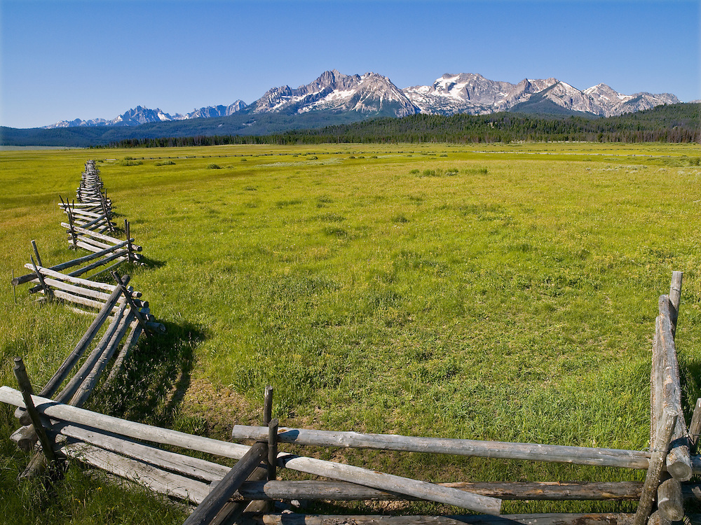 Williams Peak at 10,636 ft looms large on a summer morning in the Sawtooth Valley near Stanley, Idaho with lodgepole pine fence in pasture foreground area. Licensing and Open Edition Prints.