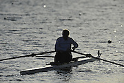 Caversham, Great Britain,  General Views, GV's. Scullers moving down to the start area in preparation for   the November sculling Test and Pairs race.  Caversham Lake, GB Rowing,  Training Centre.  {DOW  {DATE} [Mandatory Credit. Peter Spurrier/Intersport Images] Sunrise, Ground Mist and Rain. Silhouettes