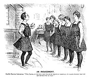 "An Inducement. Swedish exercise instructress. ""Now, ladies, if you will only follow my directions carefully, it is quite possible that you may become even as I am!"""