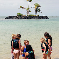 """Staff of """"Dophin Quest"""" teaches children about threatened Green Sea Turtles and their quest from nest to ocean."""