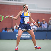 2017 U.S. Open Tennis Tournament - DAY TWO. JelenaOstapenko of Latvia in action against Lara Arruabarrena of Spain during the Women's Singles round one at the US Open Tennis Tournament at the USTA Billie Jean King National Tennis Center on August 29, 2017 in Flushing, Queens, New York City. (Photo by Tim Clayton/Corbis via Getty Images)