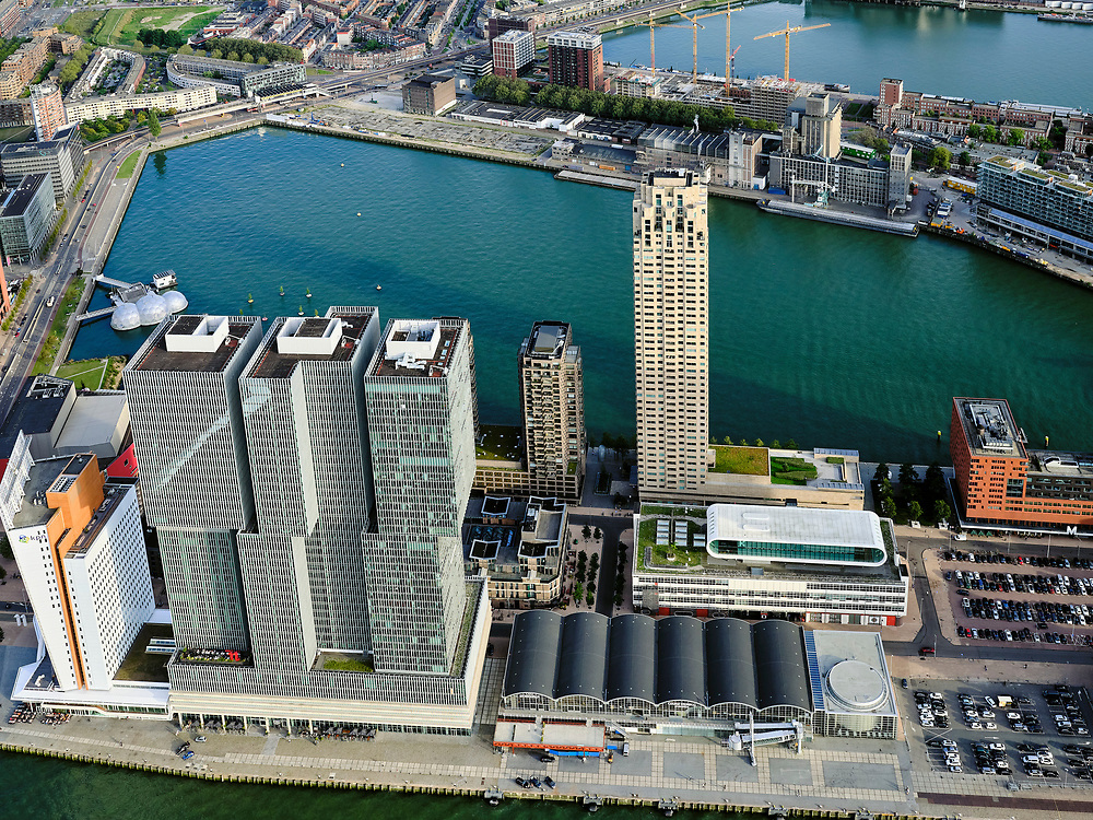 Nederland, Zuid-Holland, Rotterdam, 14-09-2019; Stadsgezicht Rotterdam. Kop van ZUid, Wilhelminakade met De Rotterdam. Rijnhaven. Zicht op Katendrecht.<br /> Cityscape Rotterdam, Kop van Zuid.<br /> luchtfoto (toeslag op standard tarieven);<br /> aerial photo (additional fee required);<br /> copyright foto/photo Siebe Swart