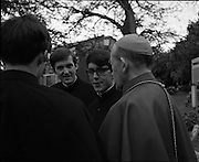 Ordinations at St Patrick's College, Drumcondra.<br /> 1970.<br /> 28.05.1970.<br /> 05.28.1970.<br /> 28th May 1970.<br /> The ordination of priests to the Vincentian Order of priests took place today at St Particks College, Drumcondra. The ceremony was officiated by His Grace,J McQuaid, Archbishop of Dublin.<br /> <br /> Image shows three of the newly ordained priests (L-R), Rev Fergus Kelly, Rev Patrick McCrohan and Rev Kieran McGovern all from Clontarf in Dublin with the Archbishop of Dublin, Dr McQuaid