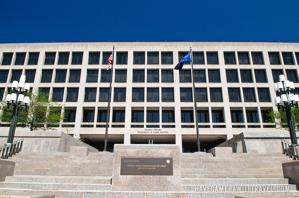 Frances Perkins Department of Labor Building in downtown Washington DC.