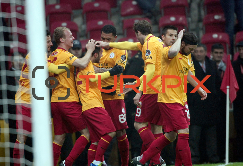 Galatasaray's Emre Colak (C) celebrate his goal with team mate during their Turkish Super League soccer match Galatasaray between IBBSpor at the TT Arena at Seyrantepe in Istanbul Turkey on Tuesday, 03 January 2012. Photo by TURKPIX