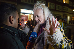 London, UK. 5 November, 2019. Fashion designer Vivienne Westwood speaks in support of Wikileaks whistleblower Julian Assange before a protest by the Don't Extradite Assange Campaign outside the Home Office against his extradition to the United States. Rapper M.I.A. performed at the protest and the speakers included Assange's father John Shipton.